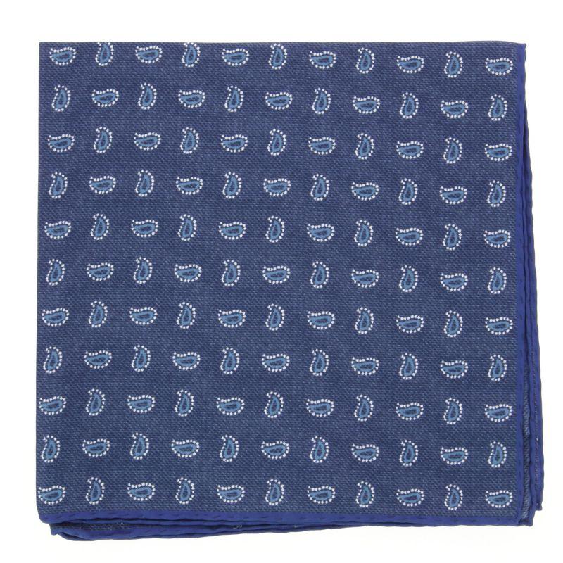 Pochette bleu foncé à motifs cachemire bleus en soie