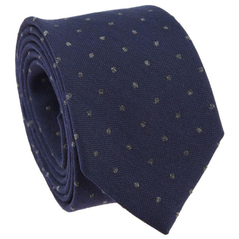 Cravate bleu marine à pois gris en laine et soie