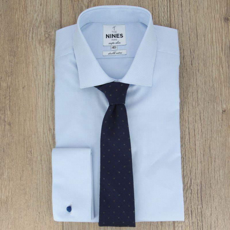 f20f1de98cf ... Cravate bleu marine à pois gris en laine et soie ...