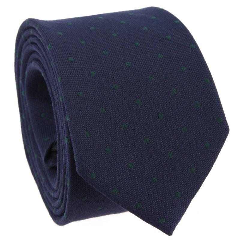 Cravate bleu marine à pois verts en laine et soie