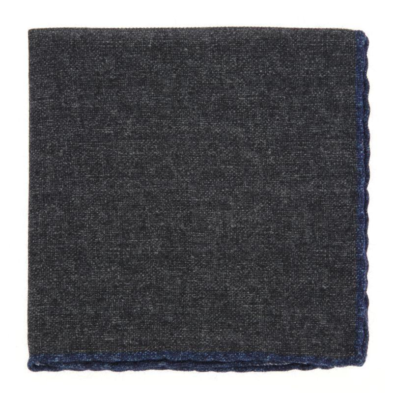 Pochette grise à bordures bleu denim en laine