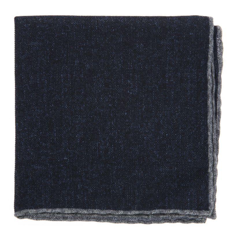 Pochette bleu marine à bordures grises en laine