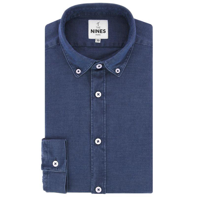 Chemise bleue en chambray texturé col américain
