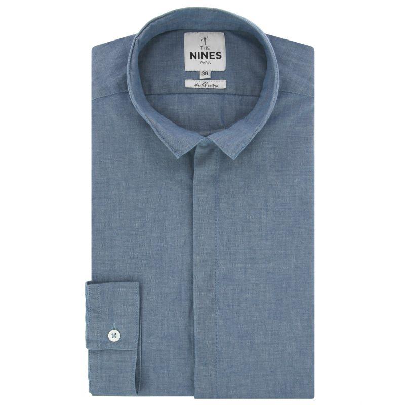 Chemise bleu ciel en chambray col inversé