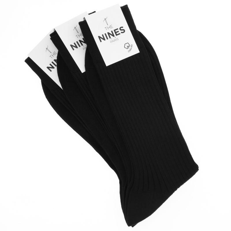Pack de 3 chaussettes noires en coton du Nil bio