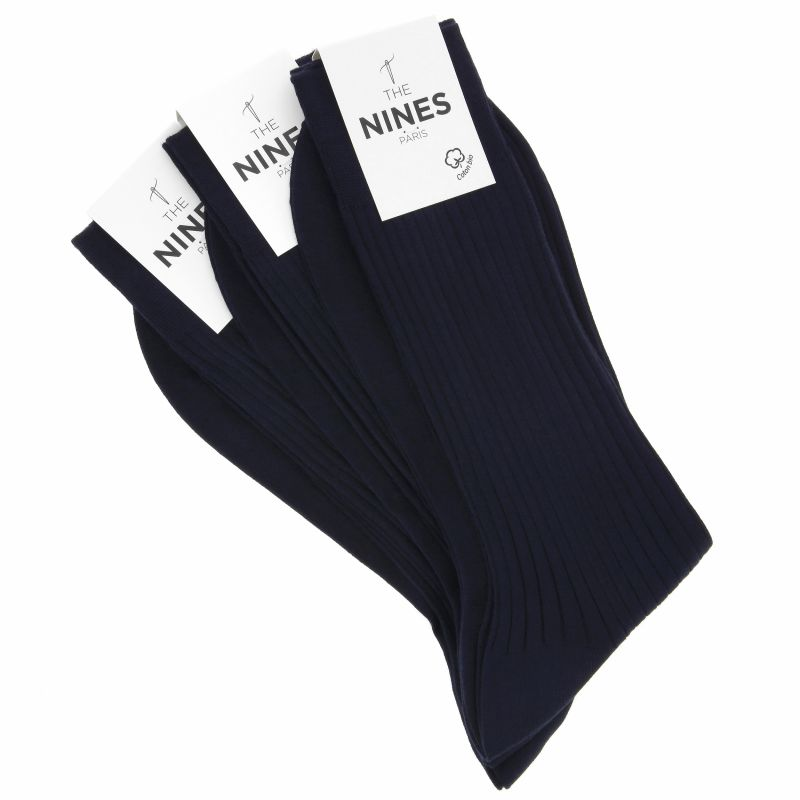 Pack de 3 chaussettes bleu marine en coton du Nil bio