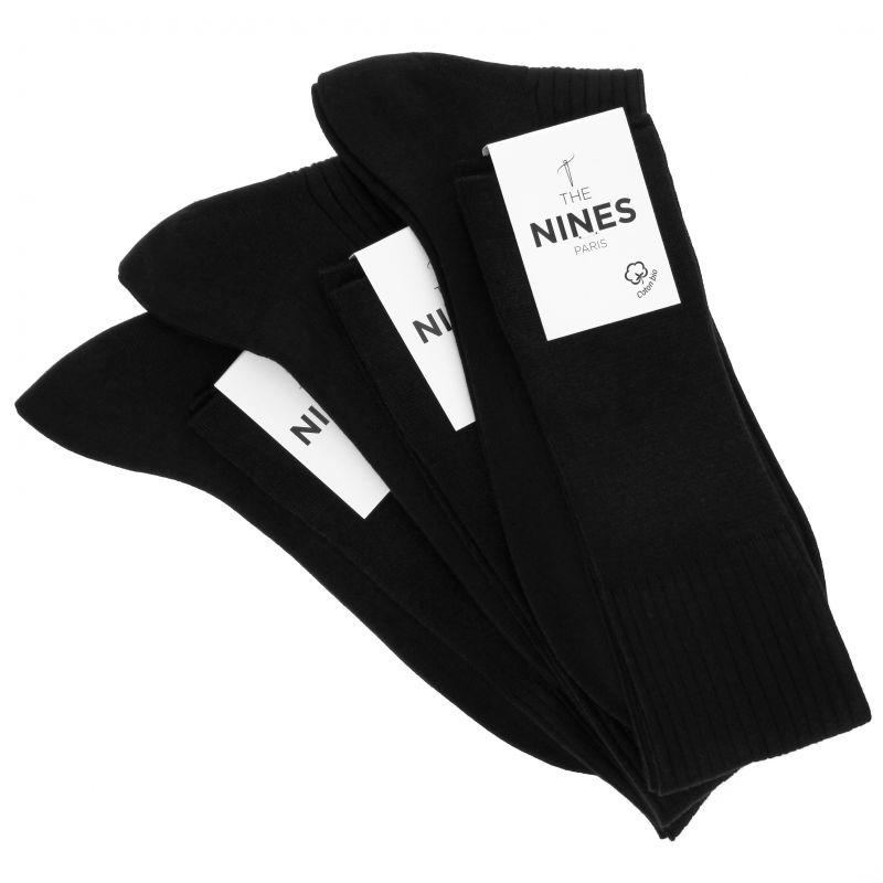 Pack de 3 mi-bas noirs en coton du Nil bio