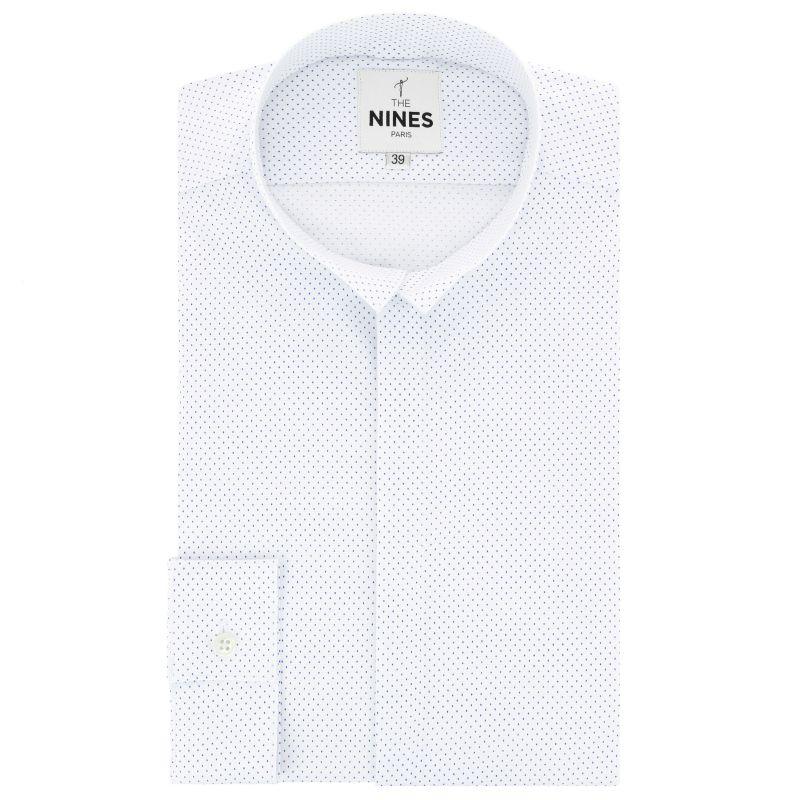 Chemise blanche à pois col inversé