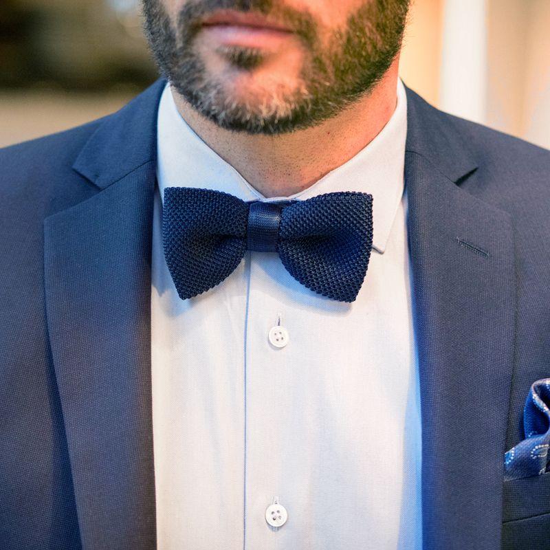 Nœud papillon bleu marine en tricot de soie - nœud papillon homme 0699b5ff8a0