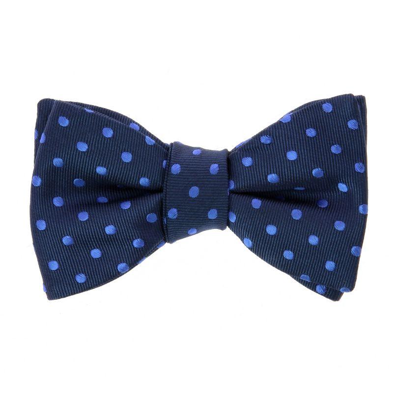 Noeud papillon bleu marine à pois bleus pré-noué The Nines