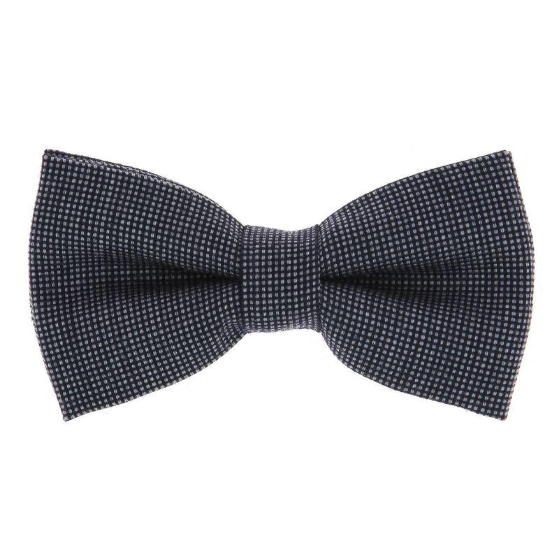 Nœud Papillon bleu marine et grise motif caviar
