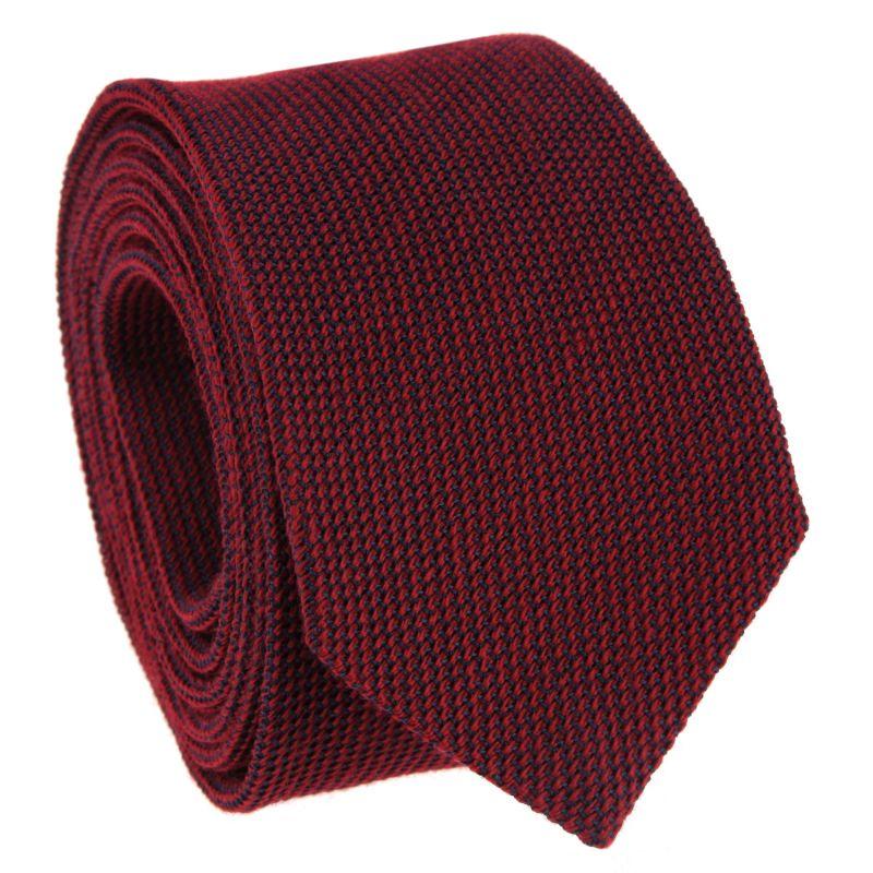 Cravate bordeaux en grenadine de soie et laine