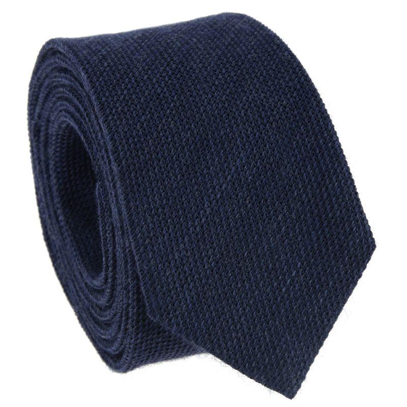 Cravate bleu marine en grenadine de soie et laine