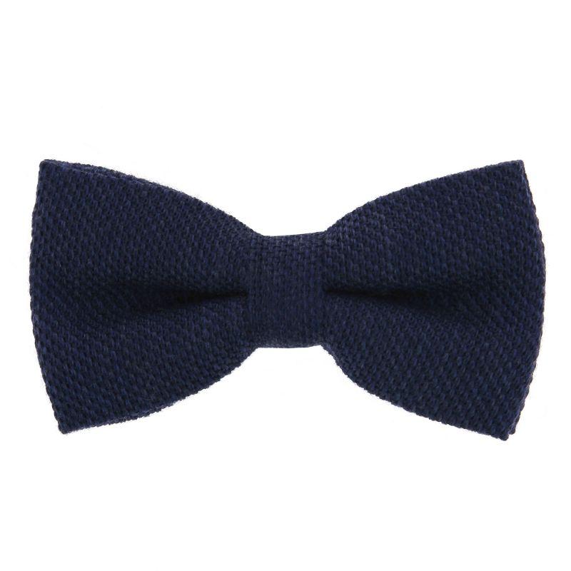 1150e2cce4be0 Nœud Papillon bleu marine en grenadine de soie et laine