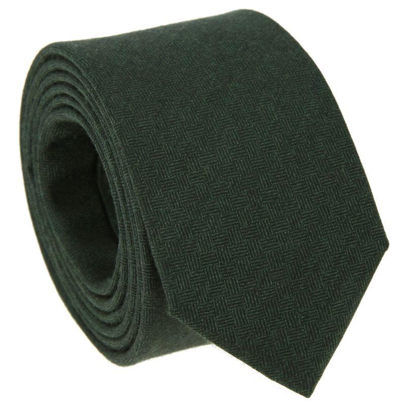 Cravate verte à motifs quadrillés en laine et soie