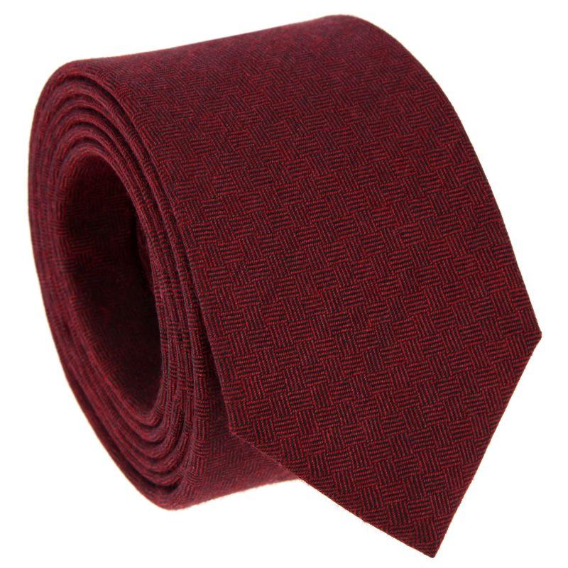Cravate bordeaux à motifs quadrillés en laine et soie