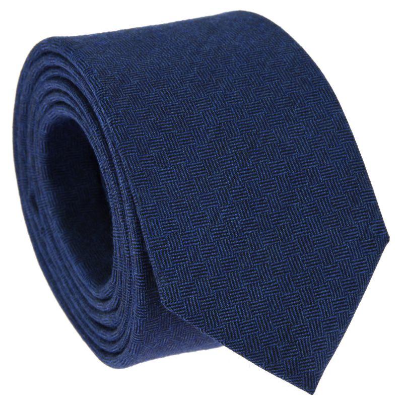 Cravate bleue à motifs quadrillés en laine et soie