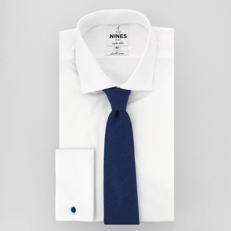 decb7235f6e ... Cravate bleue à motifs quadrillés en laine et soie ...