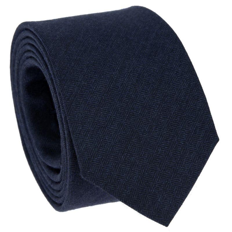 Cravate bleu marine à motifs quadrillés en laine et soie
