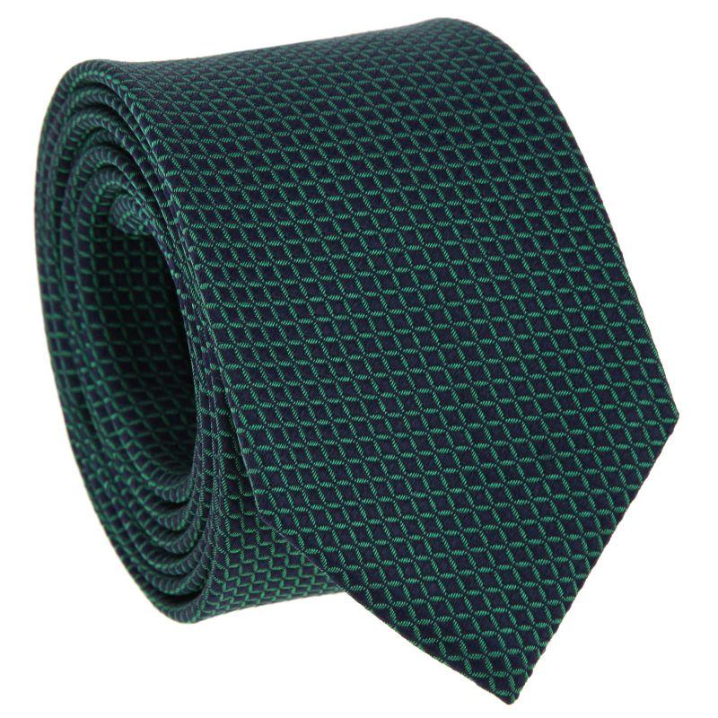 Cravate bleu marine à carrés verts en soie