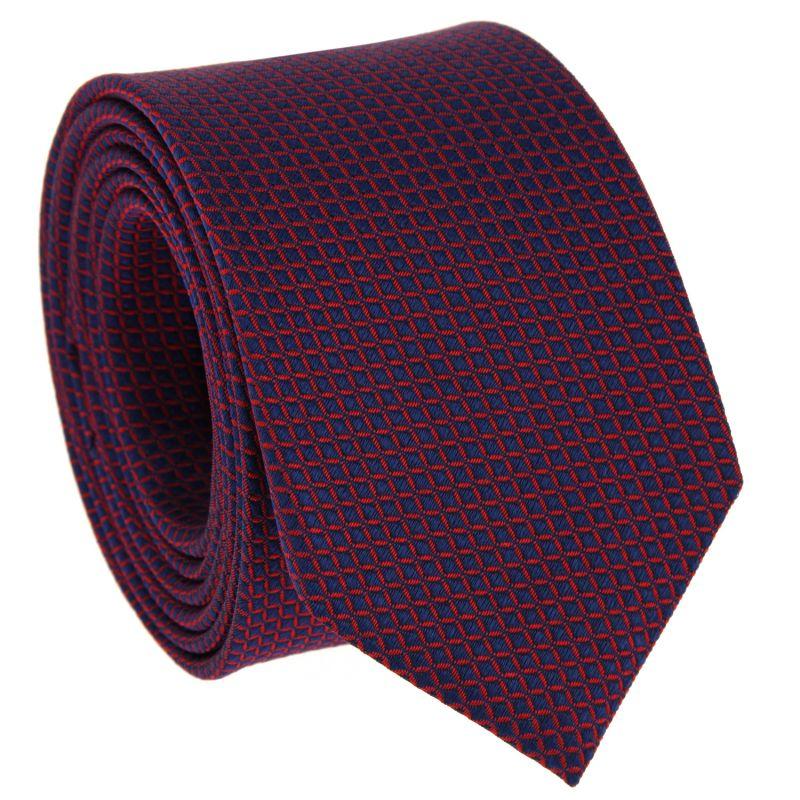 Cravate bleu marine à carrés rouges en soie