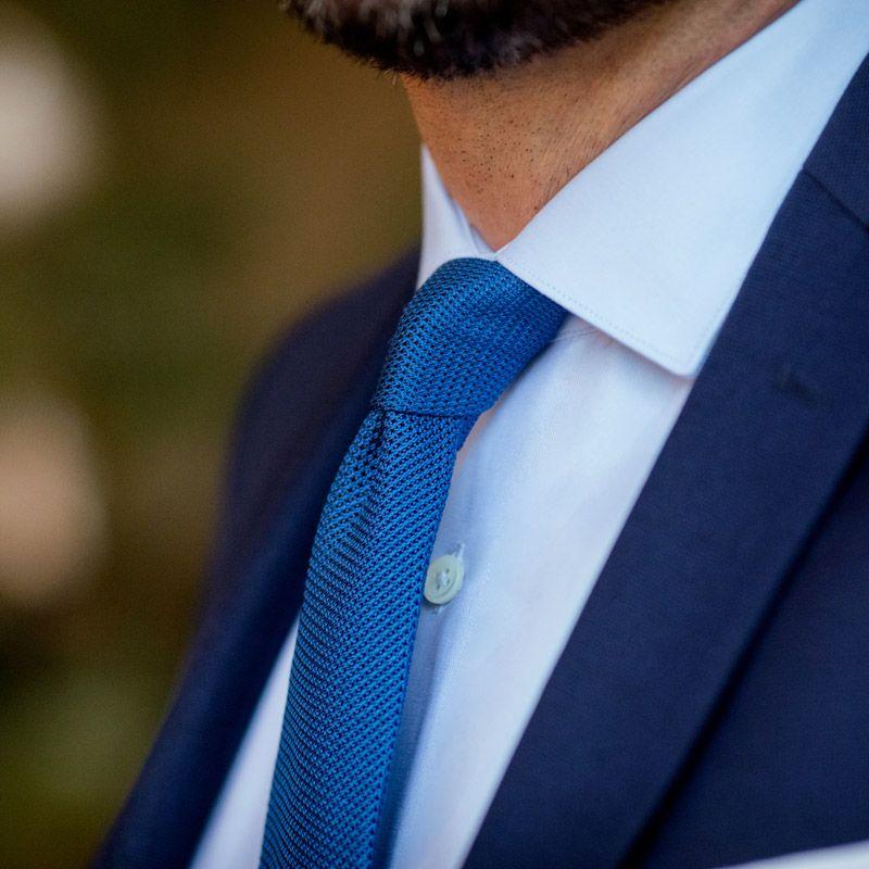 Chemise bleu ciel col italien