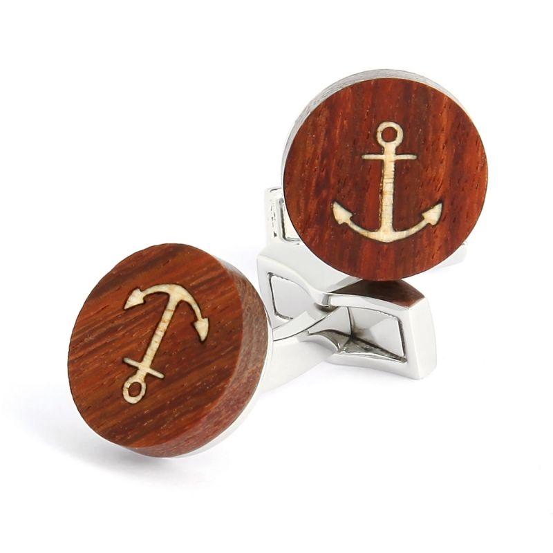 Boutons de manchette en bois ancre marine - Dinard