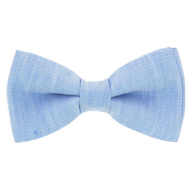 Nœud Papillon bleu ciel en soie et lin nattés - Bergame