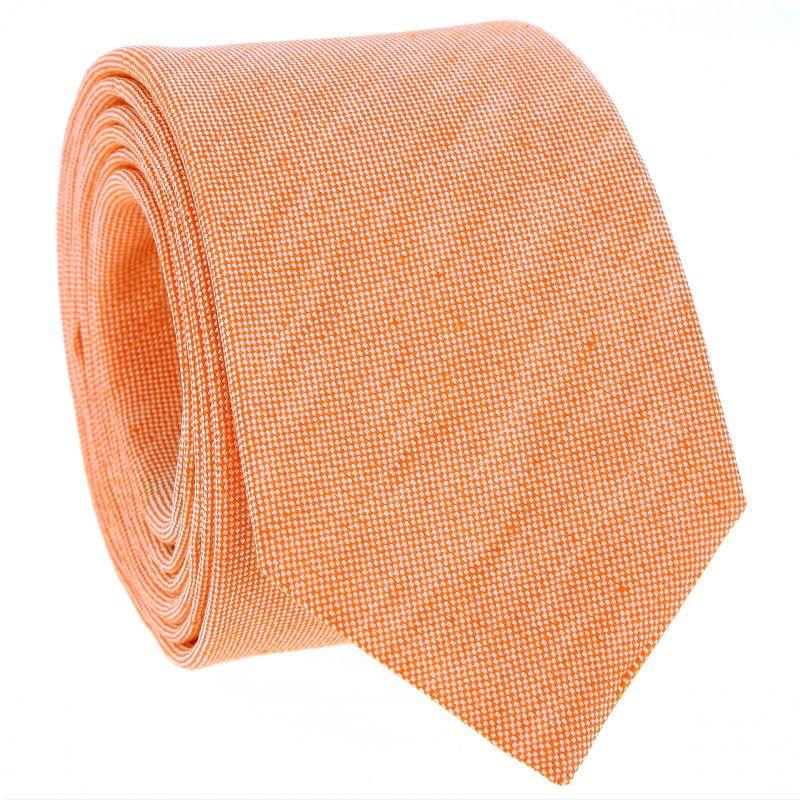 Cravate orange en soie et lin nattés - Bergame