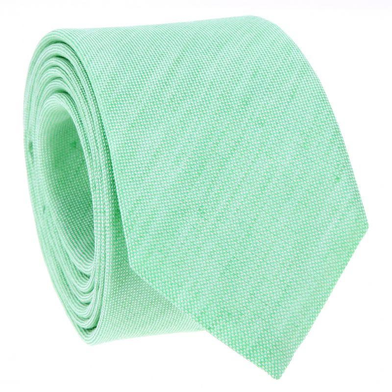 Cravate vert d'eau en soie et lin nattés - Bergame