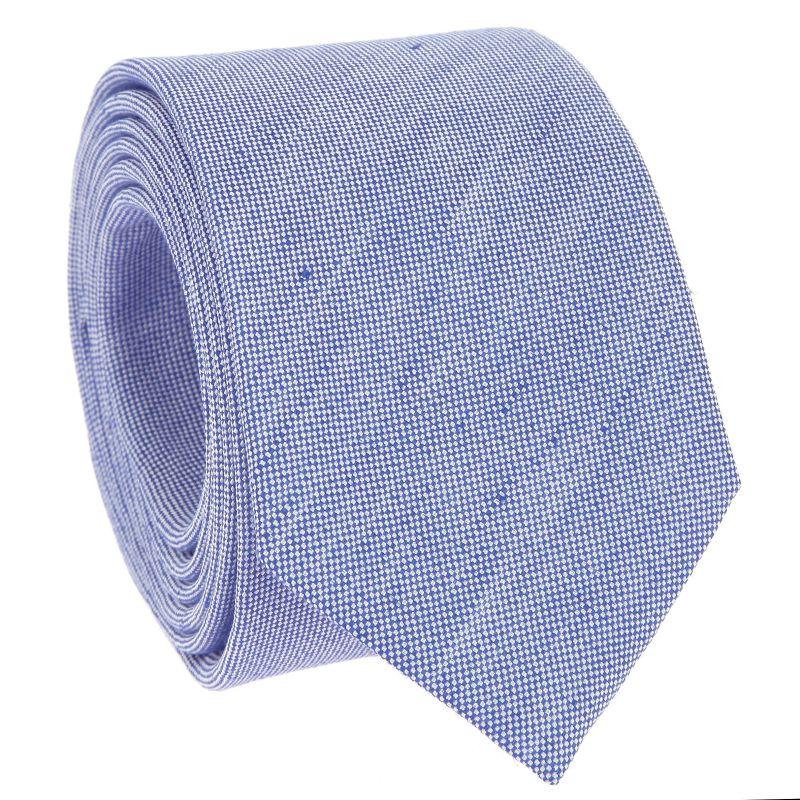 Cravate bleu en soie et lin nattés - Bergame