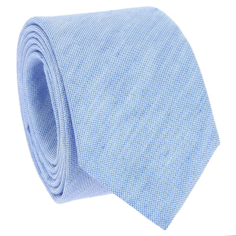 Cravate bleu ciel en soie et lin nattés - Bergame