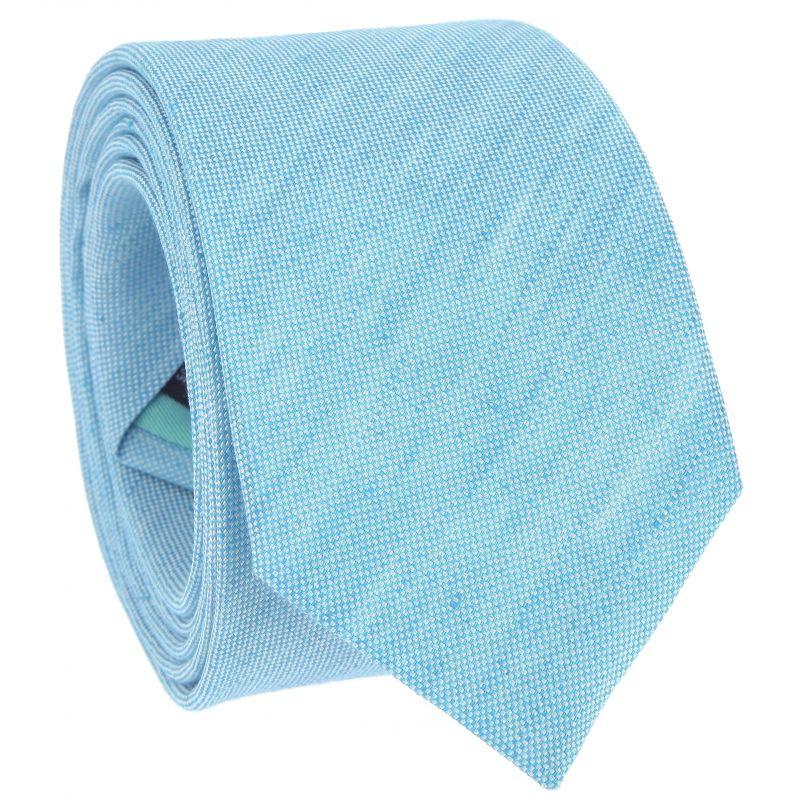 Cravate vert lagon en soie et lin nattés - Bergame