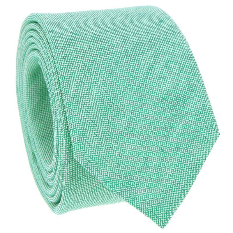 Cravate verte en soie et lin nattés - Bergame