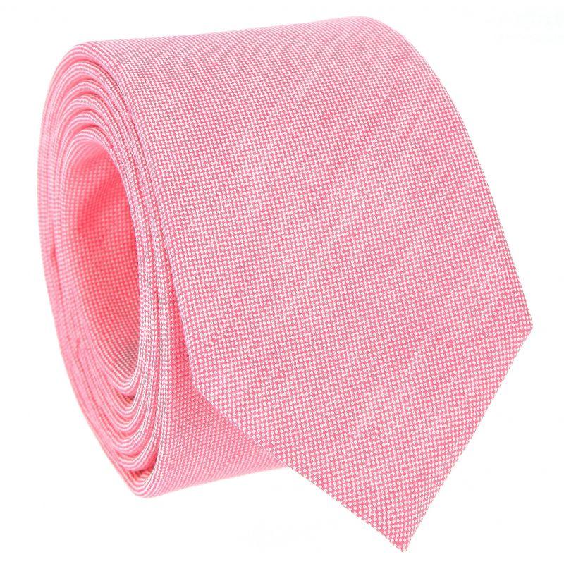 Cravate rose pastel en soie et lin nattés - Bergame