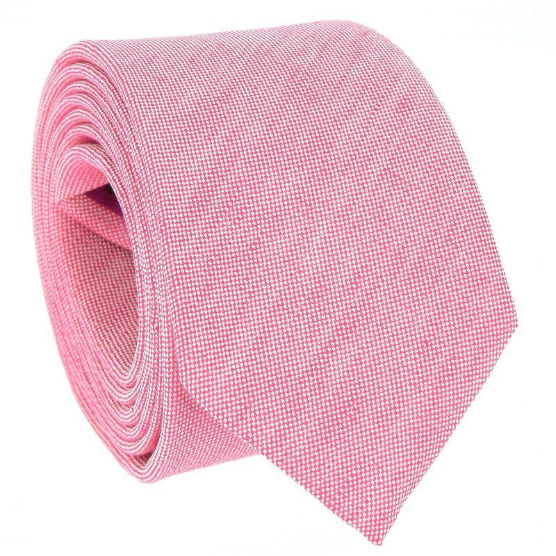 Cravate rose en soie et lin nattés - Bergame