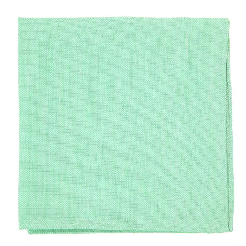 Pochette De Costume vert d'eau en soie et lin nattés - Bergame