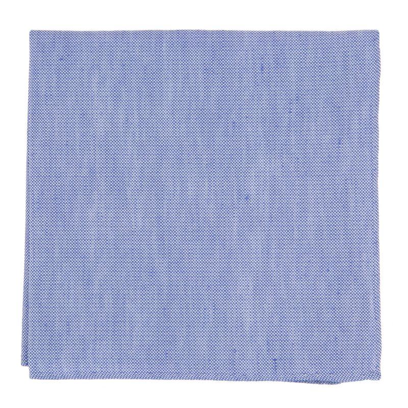 Pochette De Costume bleu en soie et lin nattés - Bergame