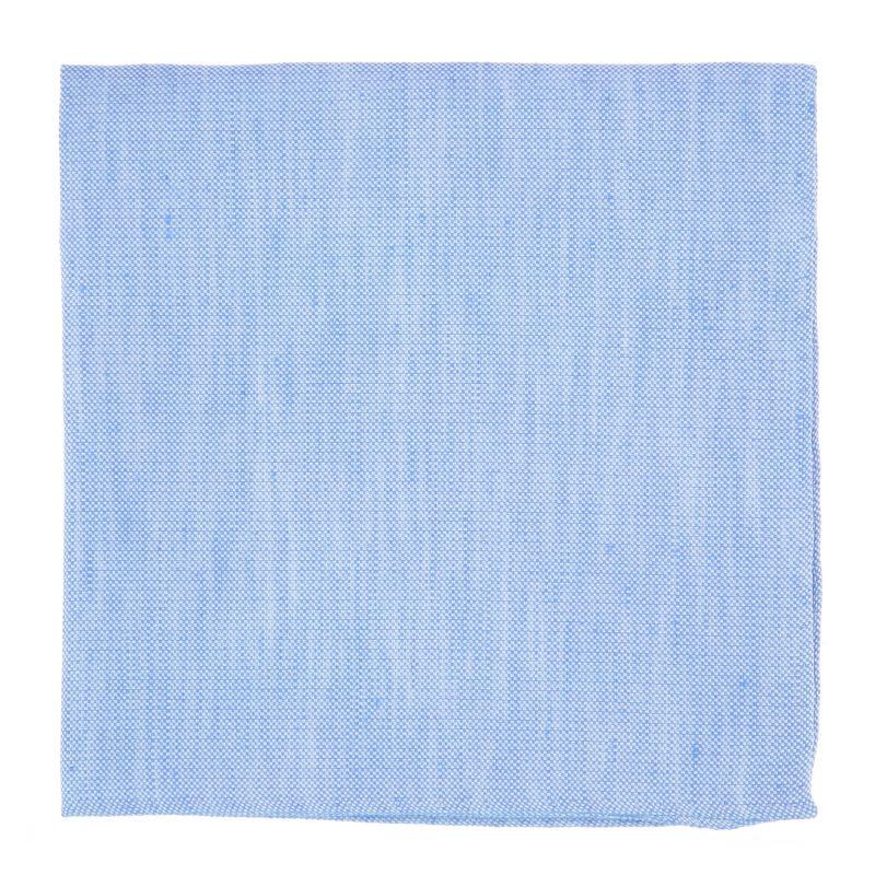 Pochette De Costume bleu ciel en soie et lin nattés - Bergame