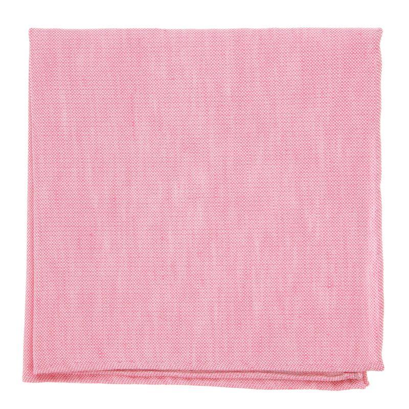 Pochette De Costume rose pastel en soie et lin nattés - Bergame