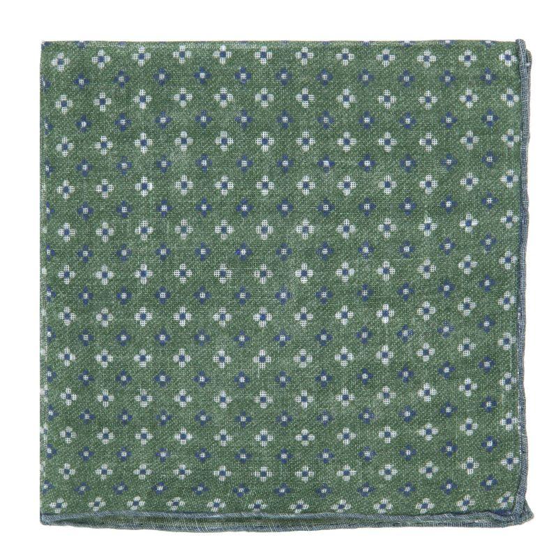 Pochette De Costume verte à petites fleurs bleues en lin