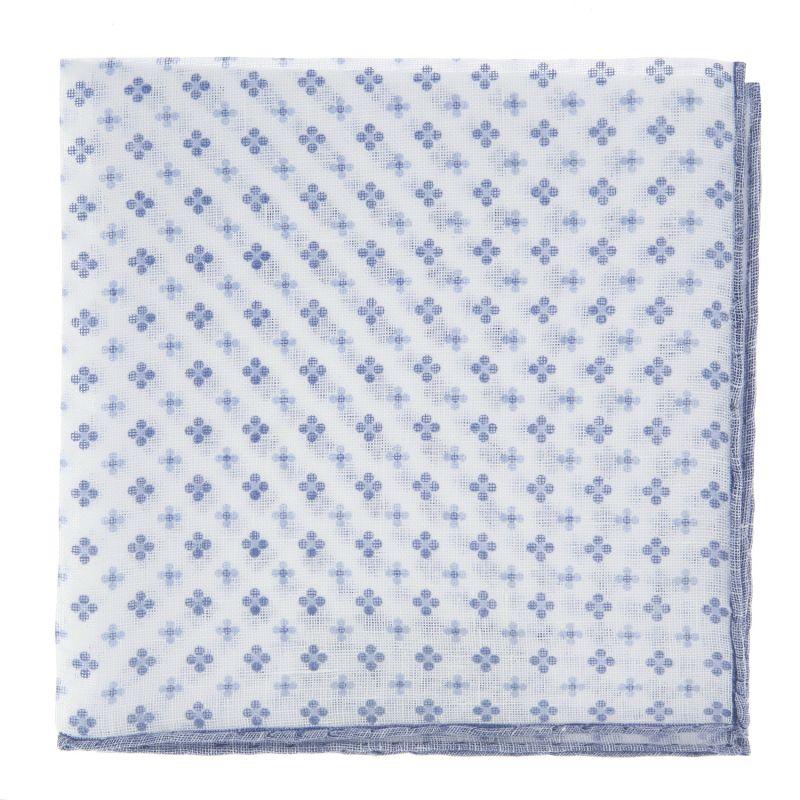 Pochette De Costume blanche à petites fleurs bleues en lin