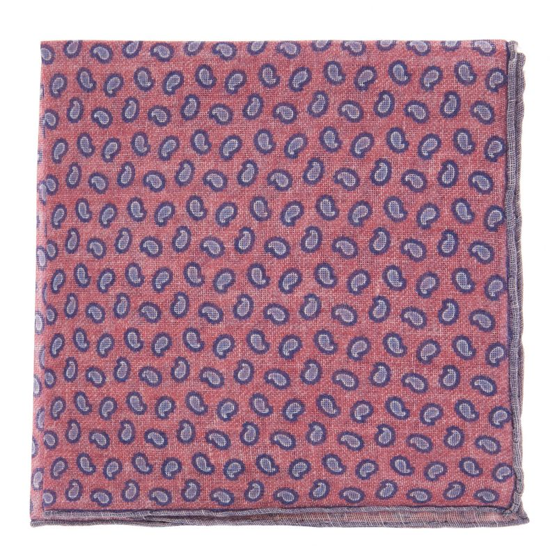 Pochette De Costume rose à motif cachemire bleus en lin