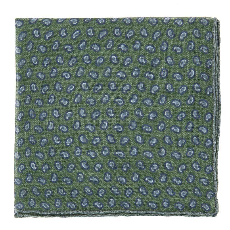 Pochette De Costume verte à motif cachemire bleus en lin