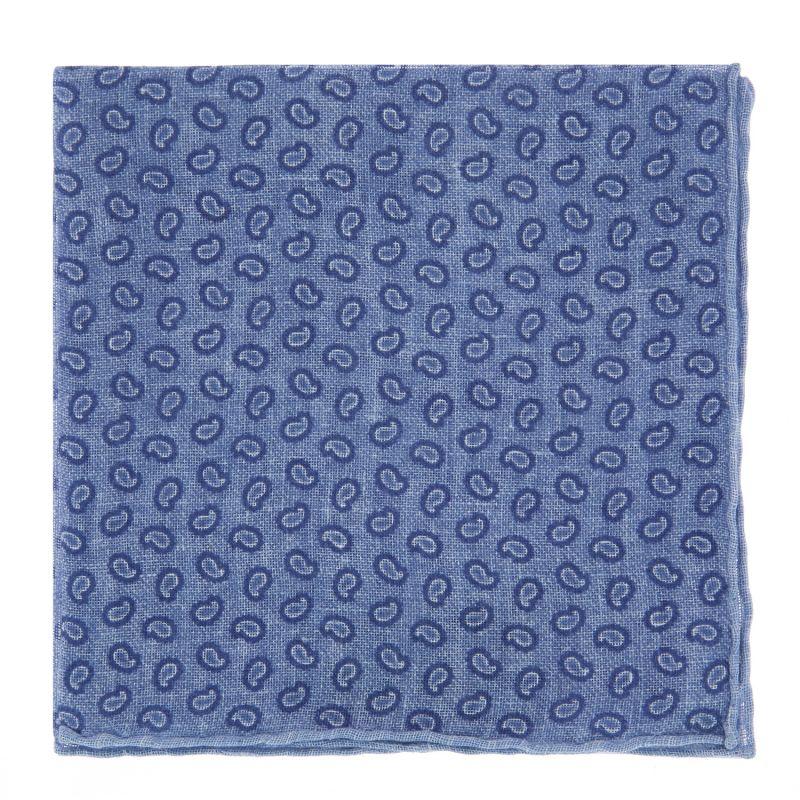 Pochette De Costume bleue à motif cachemire en lin
