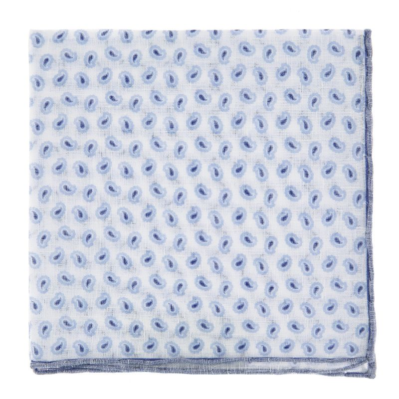 Pochette De Costume blanche à motif cachemire bleus en lin