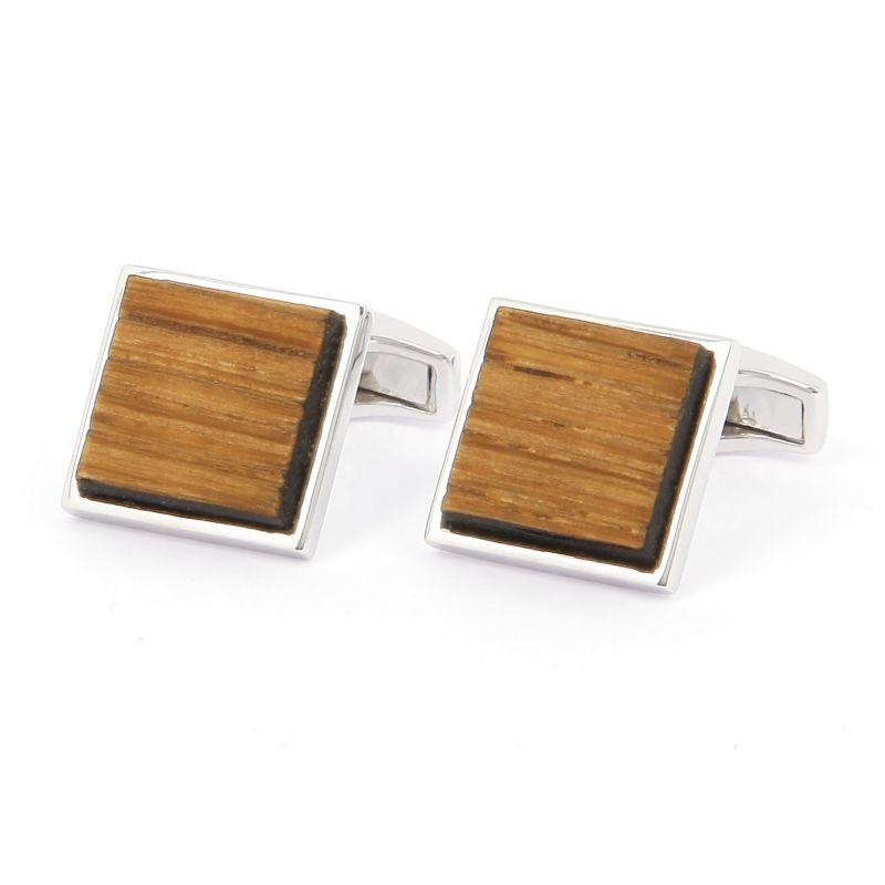 Boutons de manchettes argent massif carrés en bois de chêne - Chevreuse
