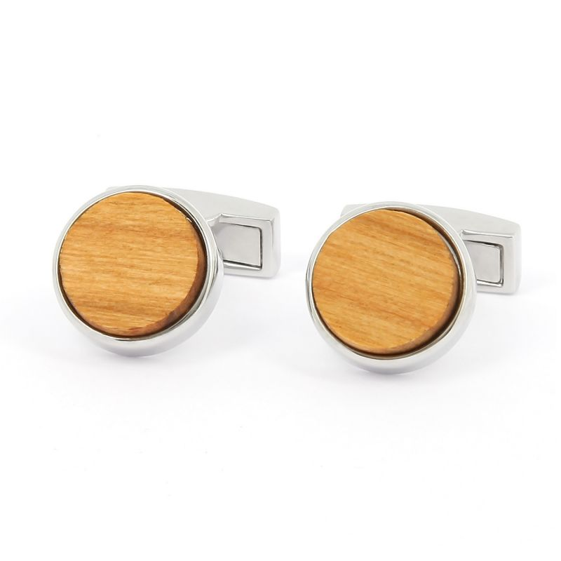 Boutons de manchette ronds en bois de cerisier - Compiègnes