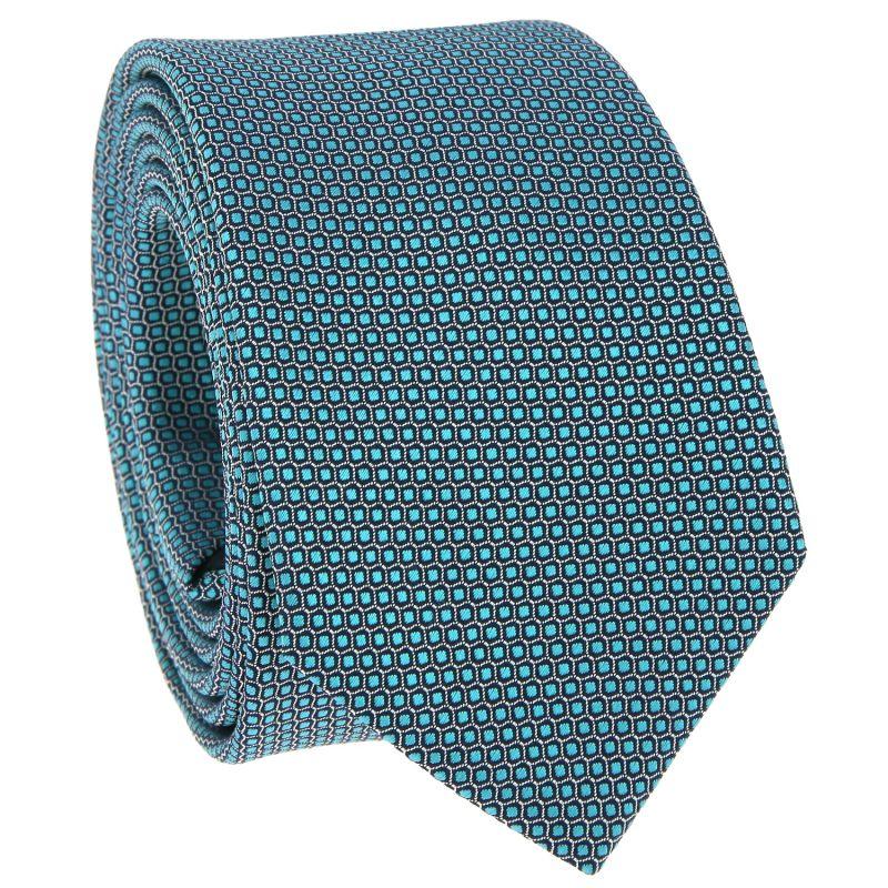 Cravate verte à motif nid d'abeille en soie jacquard