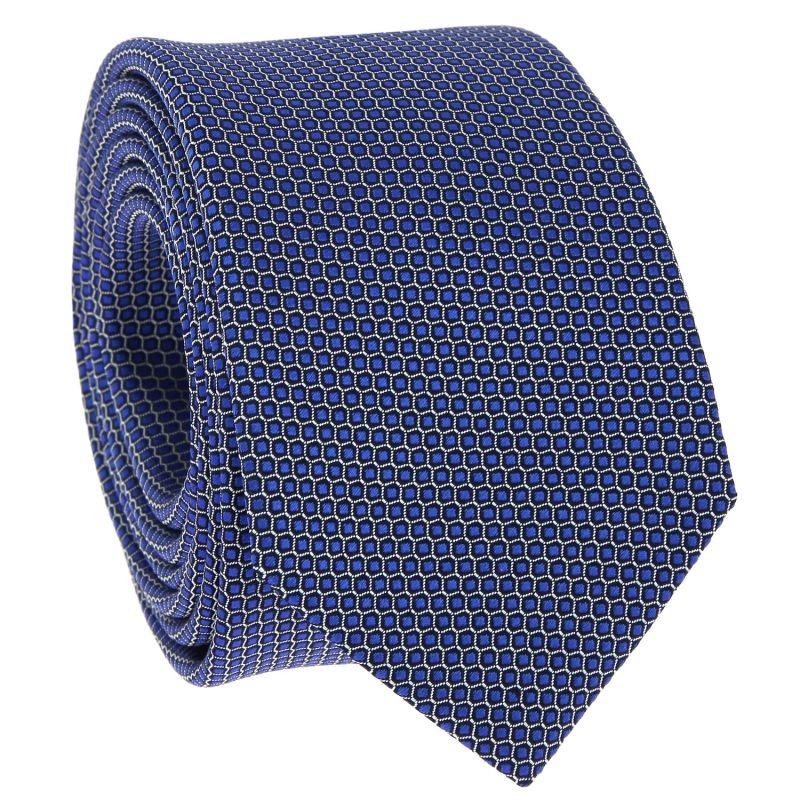 Cravate bleue à motif nid d'abeille en soie jacquard